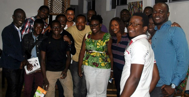 Young innovators and changemakers with Director of IPA Prize at the Hub Accra.