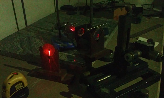 The setup for laser alignment [view from laser source]