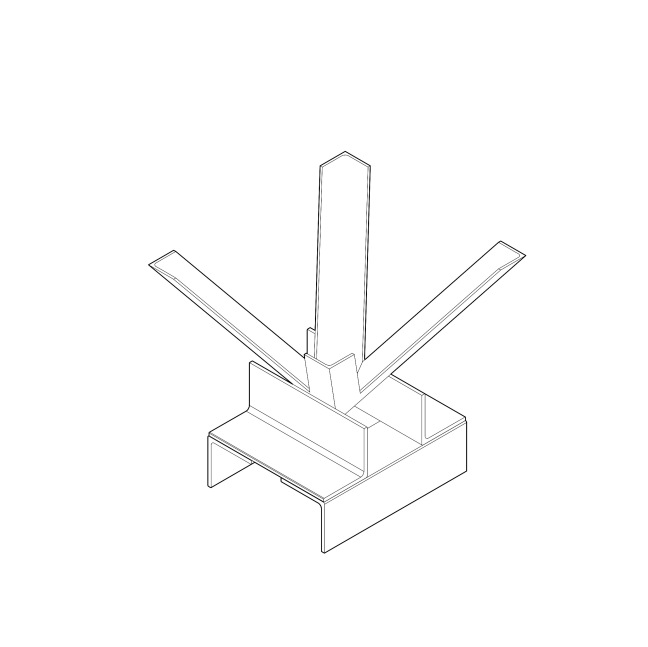4 pcs 1in angle bar chamfer cut and welded to form square inverted pyramid with sturdy base, metal off-cuts.
