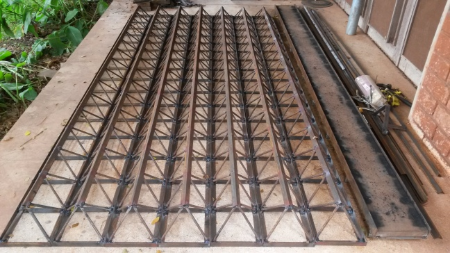9 7 1.5in semi-octet trusses welded, load to paint